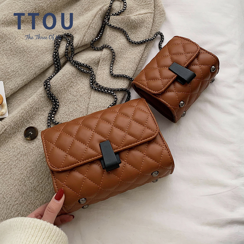 Fashion Simple Small Square Bag Women's Designer Crossbody Bags 2020 High-quality PU Leather Chain Mobile Phone Shoulder Bags