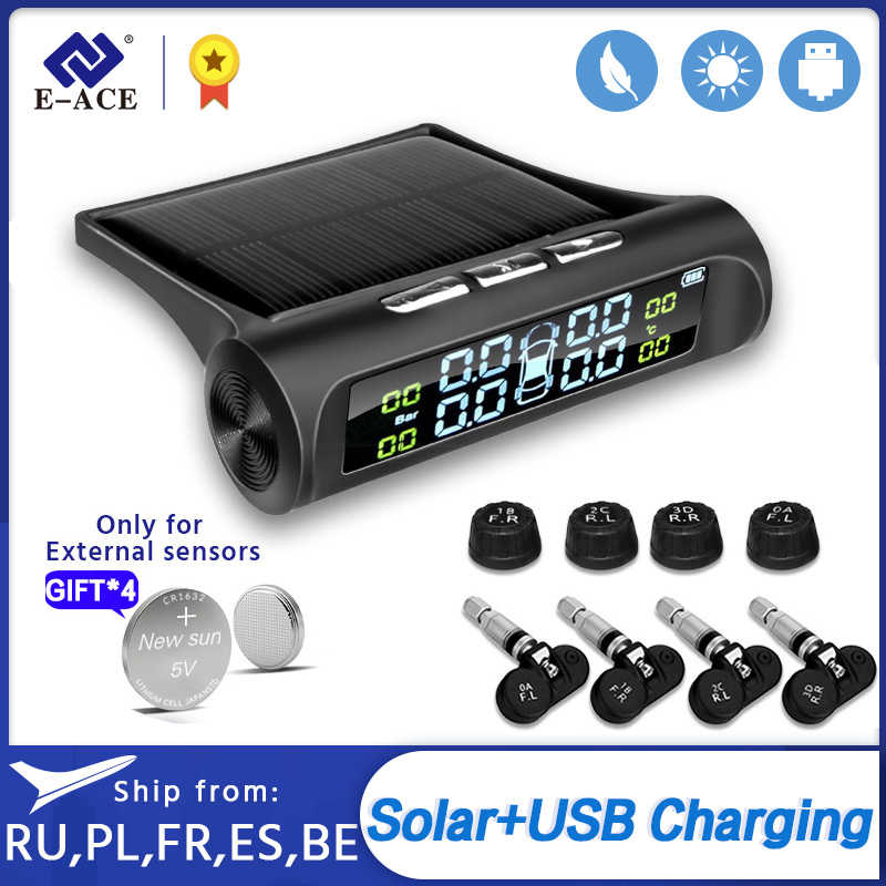 E-ACE Solar Power Smart Auto Tpms Bandenspanningscontrolesysteem Digitale Display Auto Alarmsystemen Bandenspanning