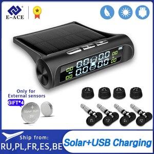 Image 1 - E ACE güneş enerjisi akıllı araba TPMS lastik basıncı izleme sistemi dijital ekran oto güvenlik Alarm sistemleri lastik basıncı