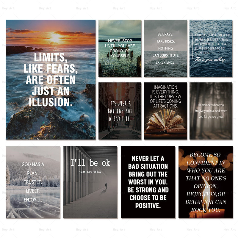 Canvas Painting English Inspirational Posters Prints Decoration Wall Art Pictures Quote Inspirational Positive Home Decor