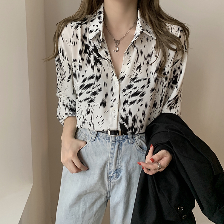 H5644372355804e829dd8887f45aca4cae - Spring / Autumn Korean Turn-Down Collar Long Sleeves Abstract Print Blouse