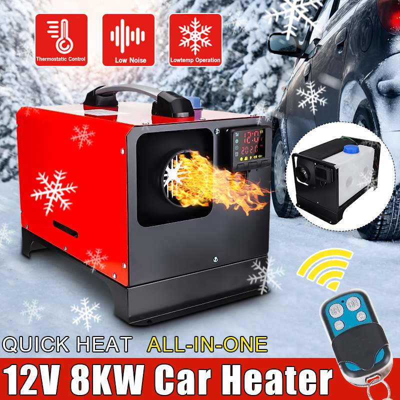 Car Heating All in One 12V 8000W Tool Diesel Air Heater Single Hole LCD Monitor Parking Warmer Quick Heat For Car Truck