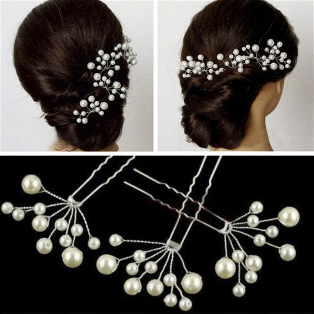 White Pearl Red Flowers Hairpin Stick Wedding Women Bridal Crystal Flowers Hairpin U Shaped Hair Clip Hair Accessories
