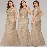 Evening Dresses Mermaid Sequined Lace Appliques Elegant Mermaid Long Dress 2019 Party Gowns Plus Size