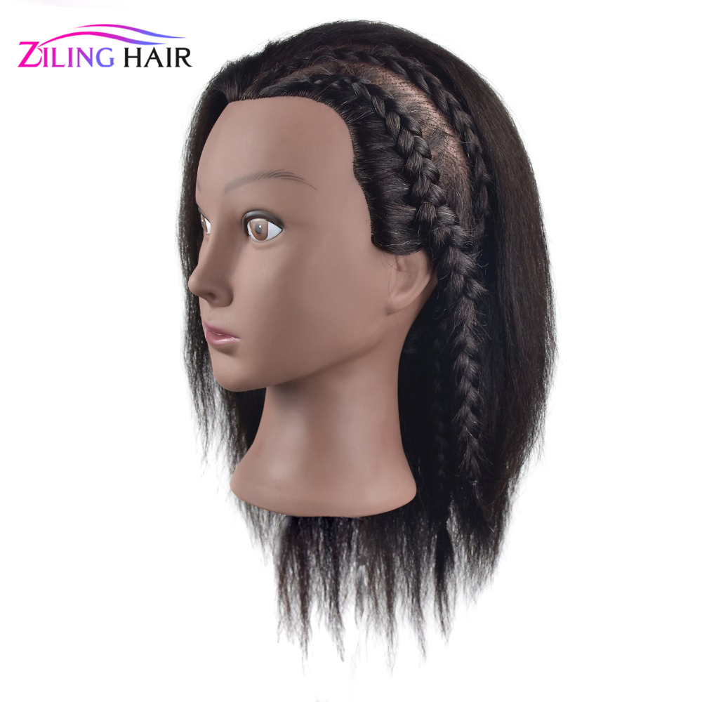 Afro Female Manikin Training Head With 35 Cm Long Mix Human Hair For Beauty School Training And Barber Practice