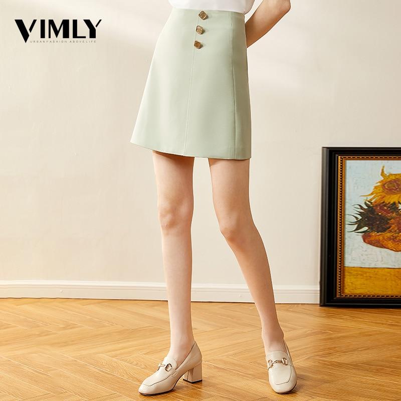 Vimly Women High Waist Mini Skirts Mujer Office Ladies Elegant Solid A-line Skirt Femme Zipper High Street Skirts