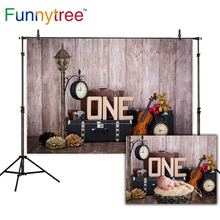 Funnytree backgrounds for photo studio wood wallpaper cake smash 1st birthdy photozone children photography backdrop  photocall