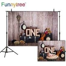 Funnytree fundos para photo studio madeira papel de parede bolo smash 1st birthdy photozone crianças fotografia pano de fundo photocall
