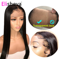 Straight wig transparent lace front human hair wigs 13x4 brazilian remy 180 density natural pre plucked bleached knots glueless