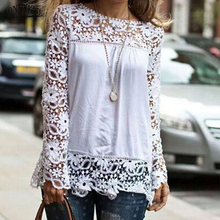 RONNYKISE Sexy Chiffon Blouses Womens Fashion Long Sleeve Hollow Out Lace Flower Tops Summer Casual Women Clothes