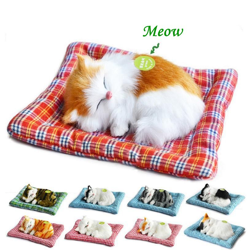 Plush Toys Lovely Simulation Doll Plush Animal Cats Sleeping Toy Real Life Plush With Sound Toy Kids Girl Birthday Gift For Kids