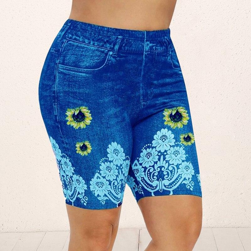 Print Yoga Short Women Jeggings Perfect Fit Jeans Leggings High Waist Elastic Capri Legging Pants Summer Breeches False Denim