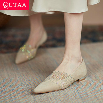 QUTAA 2021 Spring Kid Suede High Quality Flat Heel Women Shoes Crystal Pointed Toe Basic Slip On Ladies Flats Shoes Size 34-39 image