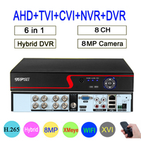 Red Panel Xmeye Hi3531D 8CH 8MP 4K H.265+ wifi Hybrid Coaxial 6 in 1 XVI TVI CVI NVR AHD CCTV DVR Surveillance Video Recorder