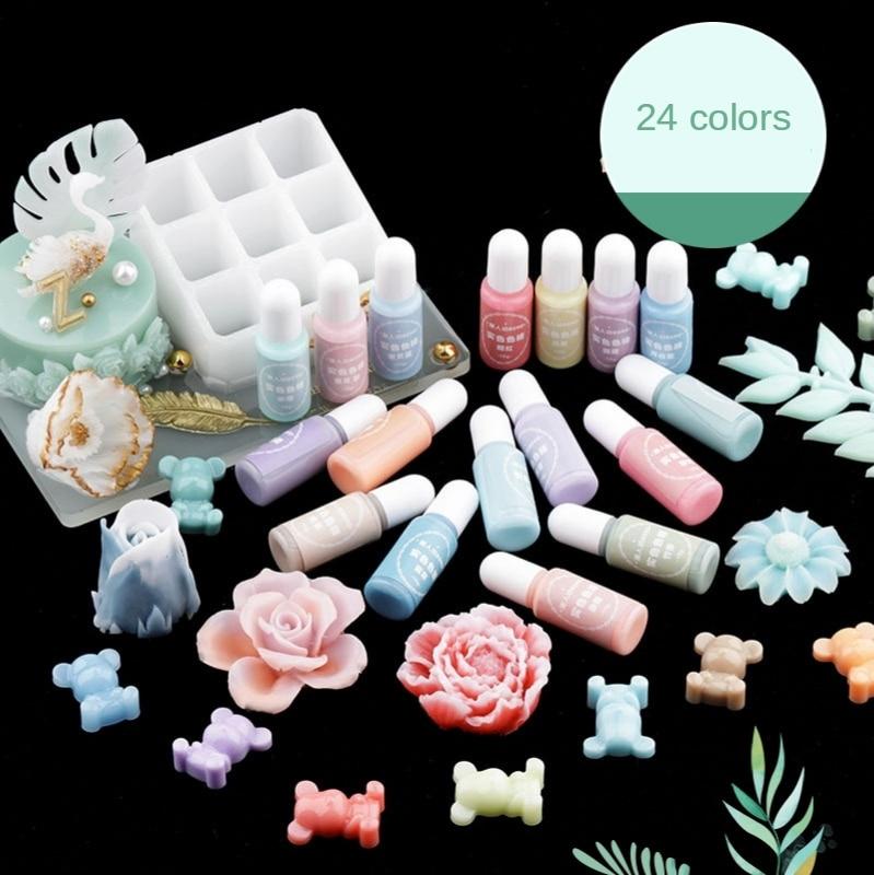 2Pcs Macaron Color Epoxy UV Resin Coloring Dye Liquid Epoxy Pigment Resin Colorant Fading Resistance10ml DIY Soap Candle Pigment