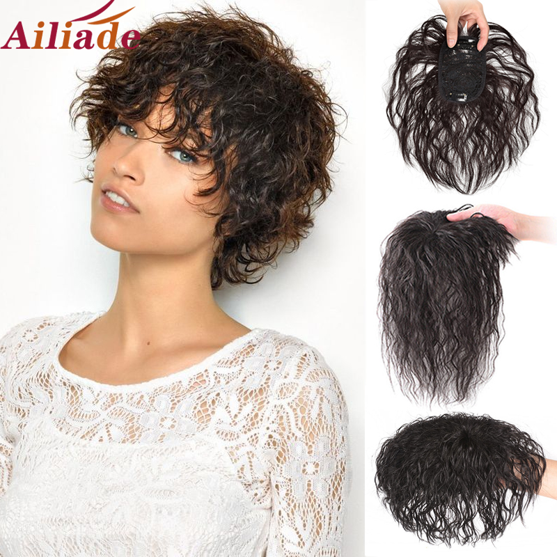 Closure-Clip Wig Hair-Extensions Human-Hair Brown Real-Topper AILIADE Black Natural Women