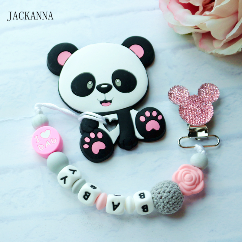 Customized Name Baby Pacifier Chain With Panda Teether Baby Gifts Newborn Dummy Clip BPA Free Baby Pacifier Clips Holder Chain