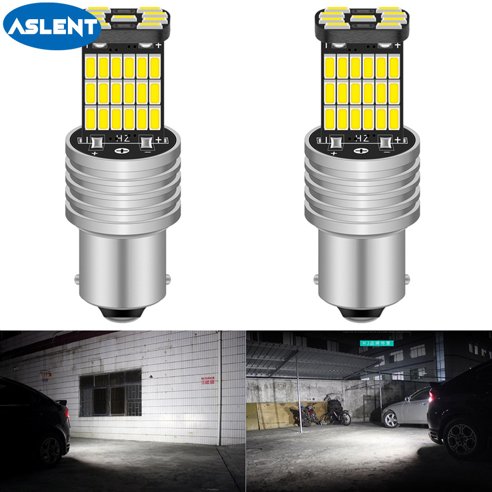 ASLENT 2pcs BA15S P21W 1156 Car <font><b>LED</b></font> Reverse <font><b>Light</b></font> Bulb For <font><b>VW</b></font> <font><b>Passat</b></font> <font><b>B5</b></font> B6 Golf 4 2001-2010 Canbus Auto Lamp Error Free 6000K image