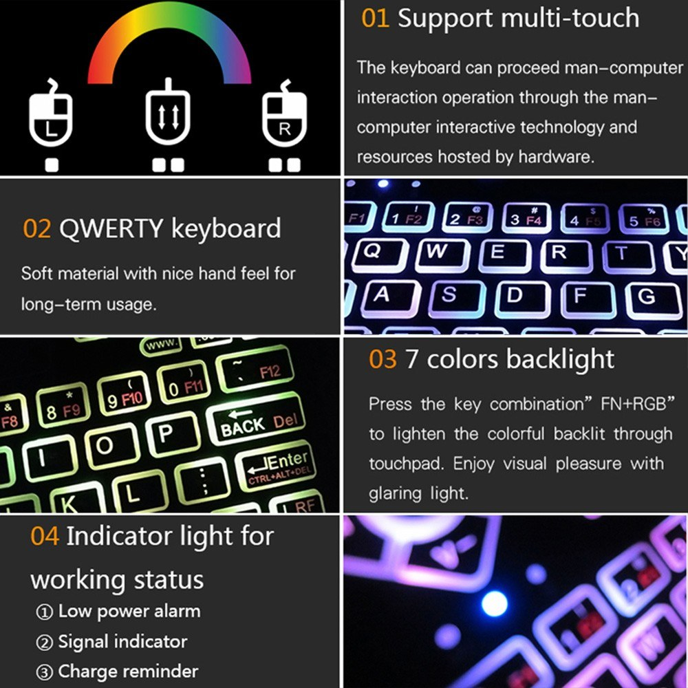 Q9 2.4G RF Wireless Keyboard Mouse Combo Remote Control W/ Touchpad LED Backlight For Android TV BOX Smart TV HTPC PC Smartphone