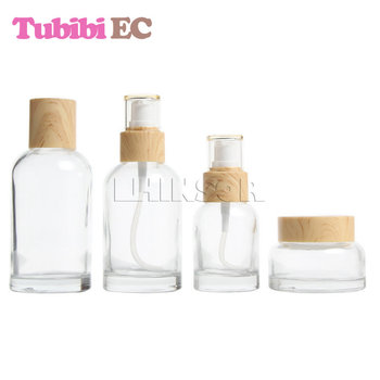 5pcs/lot Wood Grain Lid Transparent Glass Press Pump Empty Spray Lotion Toner Bottles Cream Jars Cosmetic Packaging Containers 12pcs 20g amber glass cream jars cosmetic packaging with lid black plastic caps