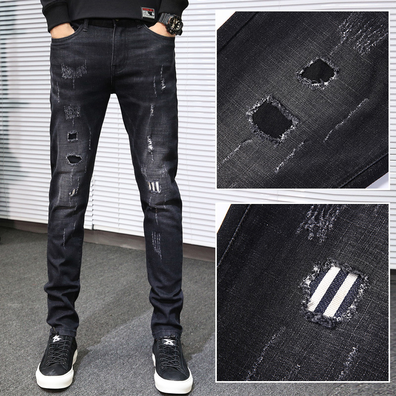 Autumn New Style Black And White With Pattern Slim Fit Skinny Pants With Holes Cat Whisker Jeans Men Korean-style Trend Fashion