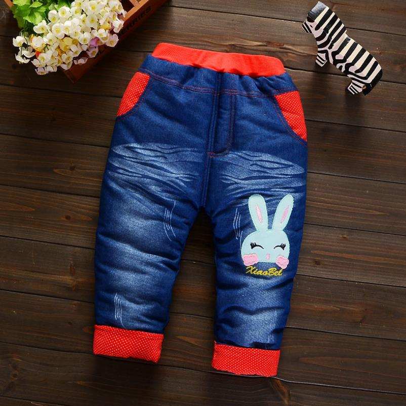 2019New Fashion Girls Autumn Winter Thicken Jeans Baby BoyEmbroidery  Jeans Kids Elastic Waist Winter Trousers Warm Pants 3