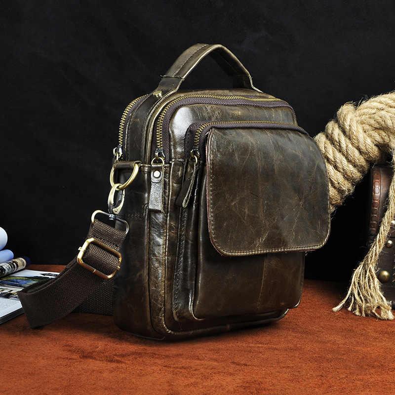 GO-LUCK marka oryginalna top skórzany torebka Tote Ipad Mini Pack mężczyźni torba męska skóra bydlęca torby na ramię crossbody