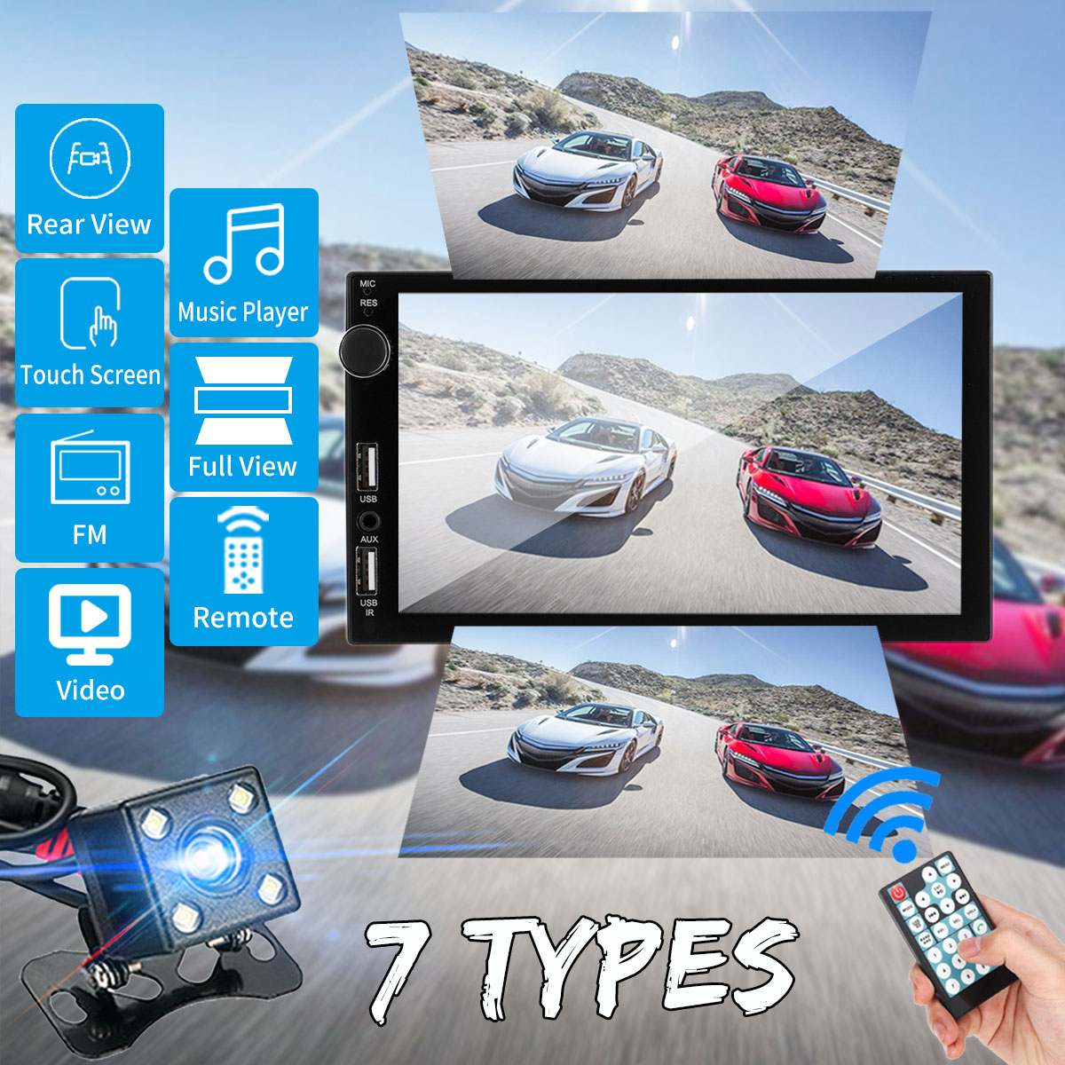 7'' IPS Full View Touch Screen Car Multimedia Player MP5 Player 2DIN Bluetooth Stereo 1080P Car Radio With Rear View Camera