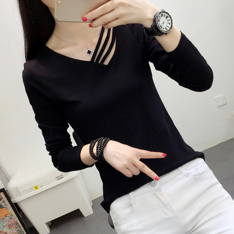 2021 new style cotton long-sleeved t-shirt bottoming shirt with a sense of design and versatile clothes