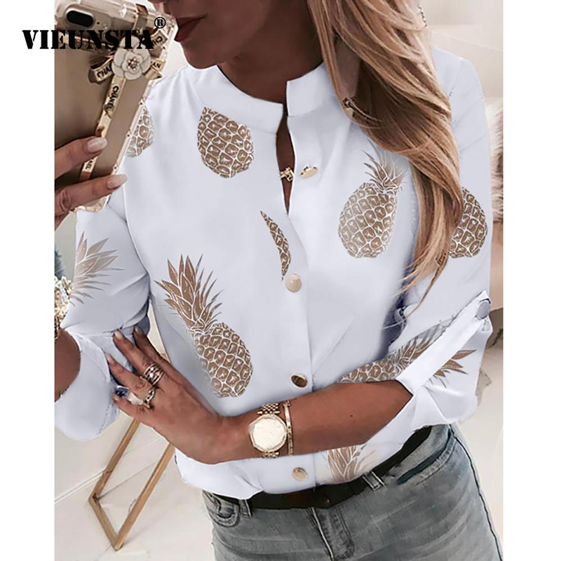 VIEUNSTA Fashion Pineapple Print Women   Blouse     Shirt   2019 Autumn Long Sleeve Womens Tops and   Blouses   Elegant V-neck Button   Shirts