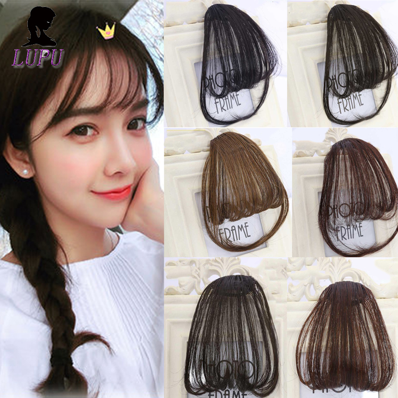 LUPU Fake Hair Bangs False Fringe Clip On Bangs Black Brown Blonde Hair Extension Synthetic Heat Resistant Hairpieces For Women