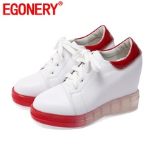 EGONERY leather wedge pumps 2020 spring autumn round toe sneakers 10cm
