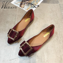 Spring Summer Shallow Mouth Pointed Flat Shoes Women Casual Loafers Work Wild Wine Red Flats New Elegant Black Slip On Shoes red shallow mouth flat shoes women s shoes low heel low belt buckle work shoes 2019 spring new women s shoes