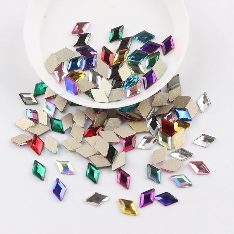 Все смешанные цвета, 30 шт, стразы для дизайна ногтей, сделай сам, без горячей фиксации, стеклянные камни для ногтей, драгоценные камни для 3D украшения для ногтей - Цвет: 4x6.5mm Rhombus