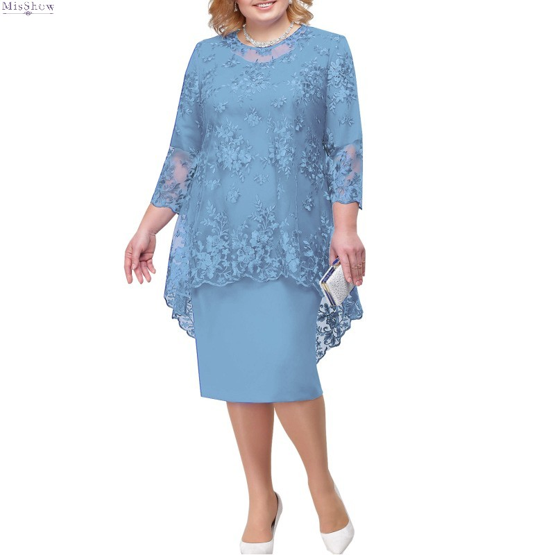 Plus Size Evening Dress 2020 Royal Blue Short Formal Gown 2019 Tea Length 3/4 Sleeve Lace Robe De Soiree