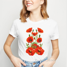Watercolor Red poppies Flowers printed white T Shirt Summer Hipster Women Shirts Casual Tops Cute short t-shirts for girl