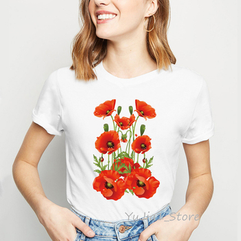 Watercolor Red poppies Flowers printed white T Shirt Summer Hipster Women T Shirts Casual Tops Cute short t-shirts for girl chief t shirts custom short rainbow six siege wholesale crewneck rogue tops t shirt printed tops shirts for men summer autumn