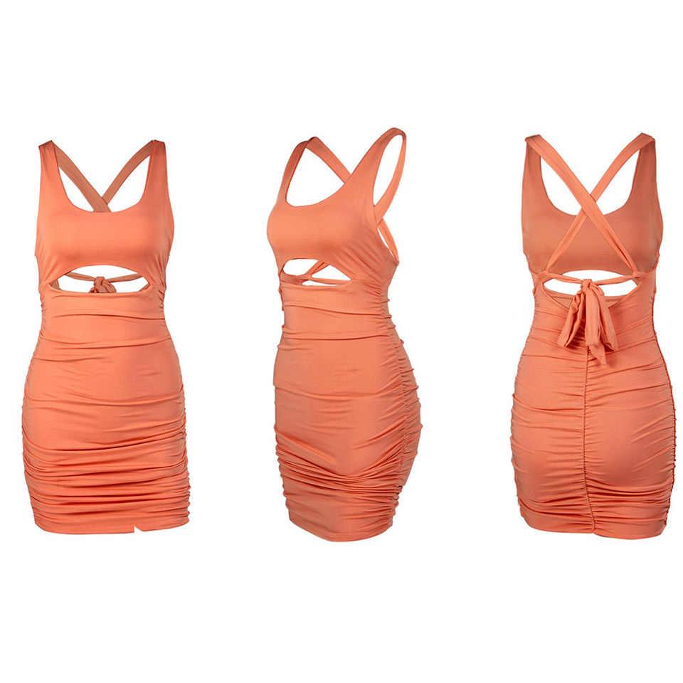 Karlofea Dames Wrap Ruches Mini Jurk Sexy Uitsnede Taille Bodycon Jurk Zomervakantie Outfits Chic Backless Strikje Vestidos