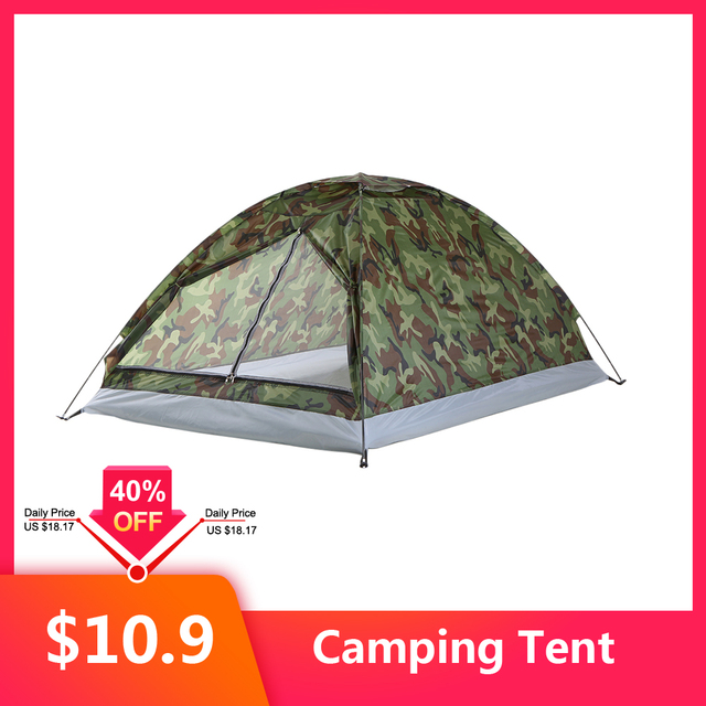 TOMSHOO 1/2 Person Camping Tent Beach Tent Single Layer Tent Portable Camouflage Polyester PU1000mm Camping Hiking Outdoor Tent 1
