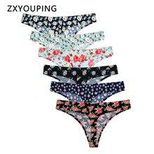 6 peça de impressão sem costura tangas sexy g string calcinha roupa interior das mulheres respirável feminino lingerie briefs XS L eua tamanho