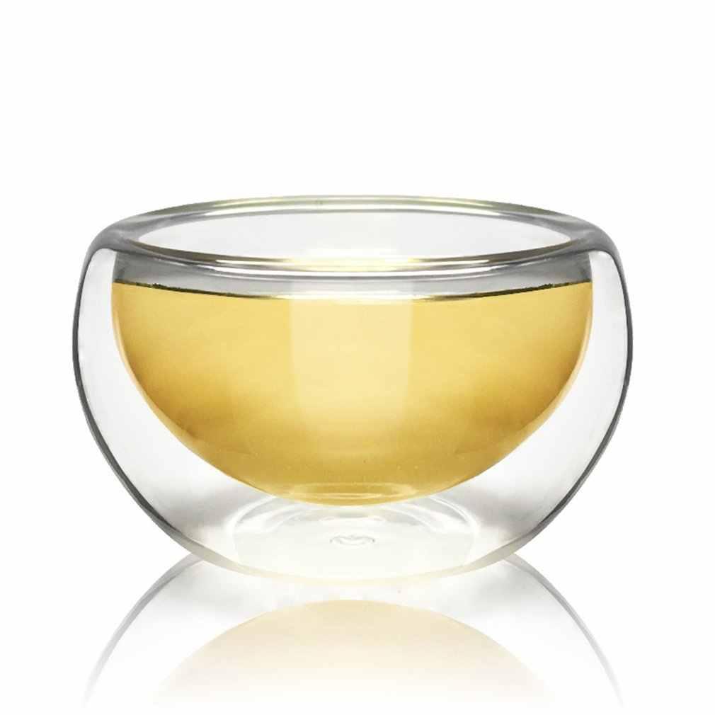50ML de vidrio de agua transparente taza para beber té resistente al calor doble capa de pared de vidrio leche tazas de café jugo de fruta taza para té de flores