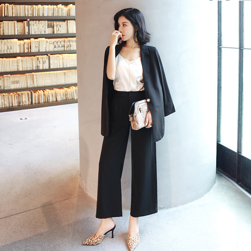 Early Autumn Casual Women's Suits Large Size XL-5XL Fashion One Button In The Long Loose Jacket Female Wide Leg Trouser Suit