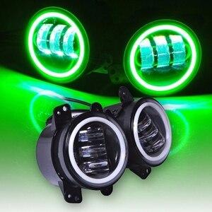 Image 2 - 2PCS 4 אינץ עגול Led ערפל אורות 30W 6000K לבן Halo טבעת DRL Off Road ערפל מנורות עבור ג יפ רנגלר JK TJ LJ גרנד צ ירוקי לאדה