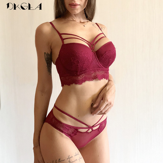 2019 Top Sexy Bra Set Push-Up Brassiere Bandage Black Embroidery Lingerie Sets Women Thick Gather Underwear Set Cotton Bras Lace 1