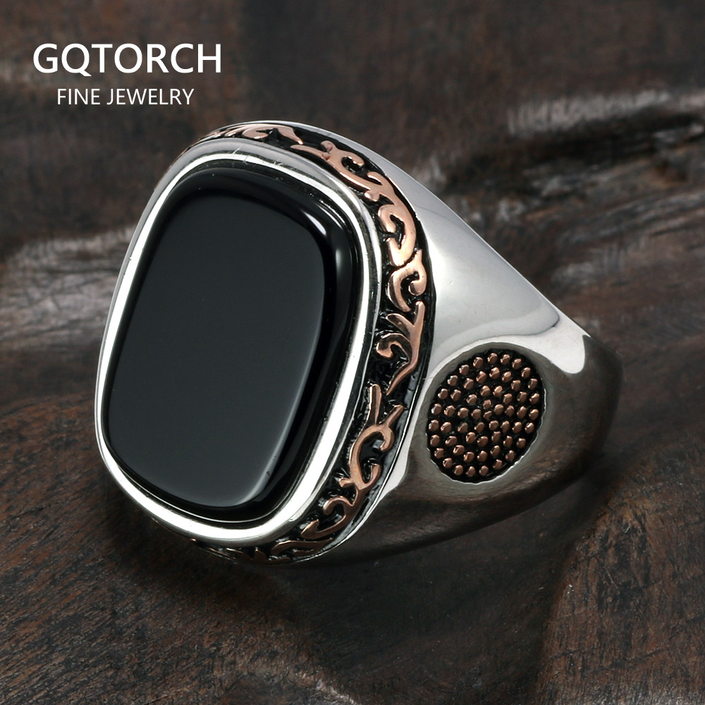 Real Pure Mens Rings Silver s925 Retro Vintage Turkish Rings For Men With Natural Black Onyx Stones Turkey JewelryRings   -