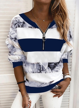 Women's T Shirt Striped Color Block Long Sleeve Print V Neck Tops Basic Top Blue Yellow Blushing Pink Zipper Tee