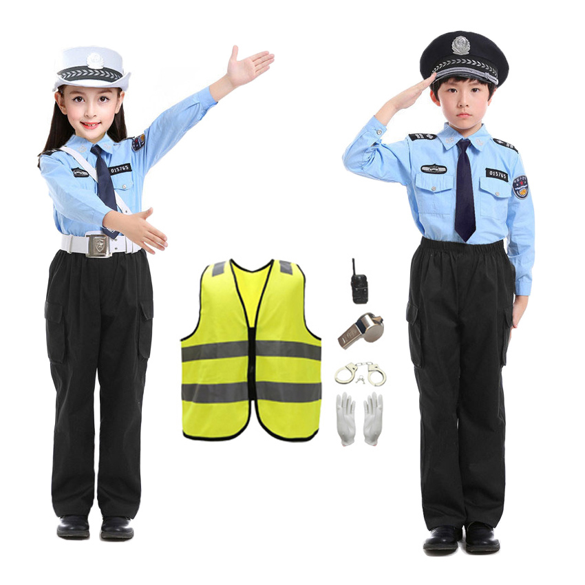 2021 kinder der Tag Karneval Party Cosplay Kostüme Teenager Verkehrs Polizist Uniform Set für Kinder Unisex Halloween Tragen