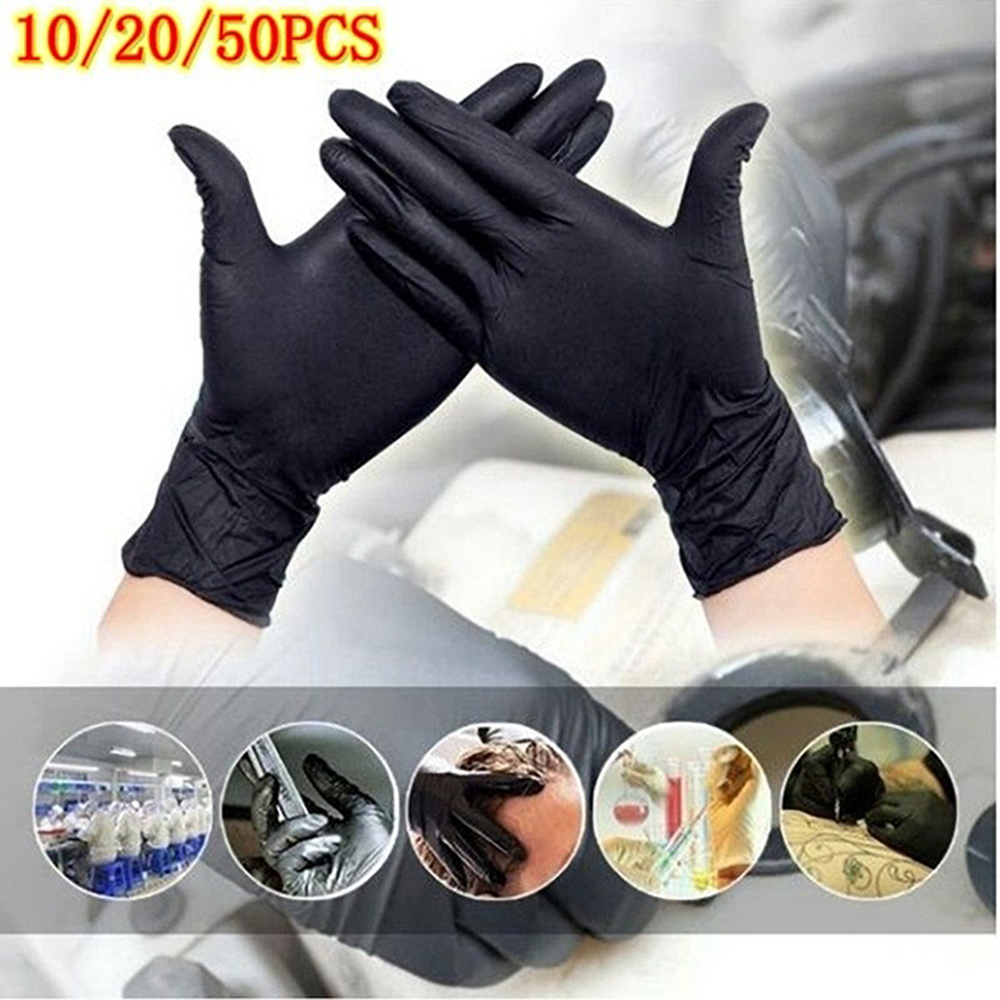 50pcs Black White Disposable Latex Nitrile Gloves Non-slip Anti-oil/Acid/Alkali For Working Lab Repair Tools Protection Gloves