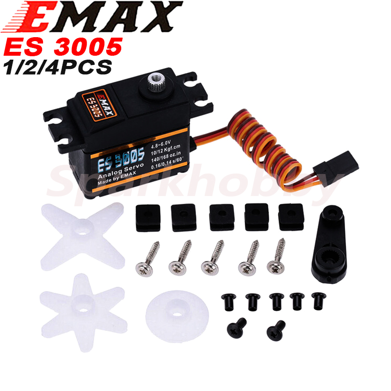4PCS Original EMAX ES3005 Metal Analog Servo42g Waterproof Servo with Gears for RC Car Helicopter Boat Airplane Parts Accessorie image