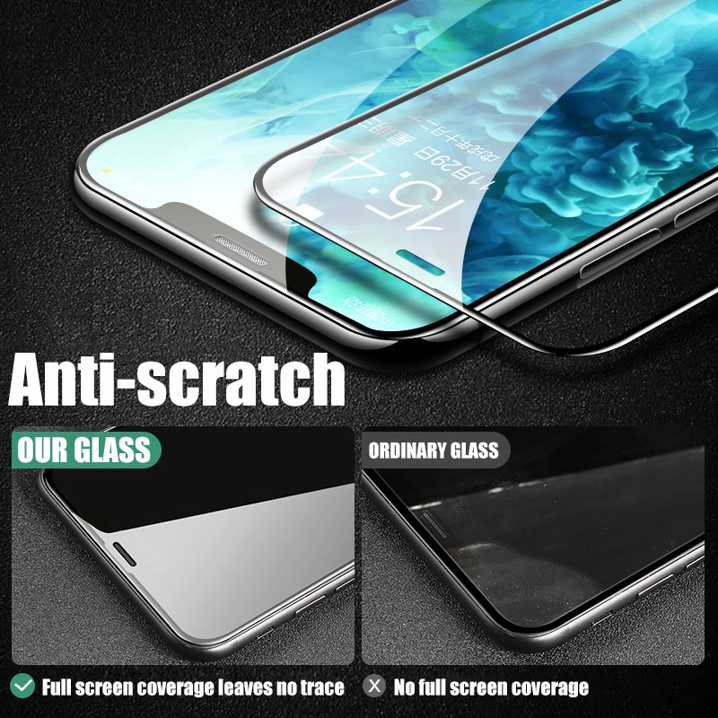 Full Cover protective Glass For iPhone 12 11 XS Pro Max X XR SE 2020 Screen Protector Glass For iPhone 6 6S 7 8 Plus Glass Film